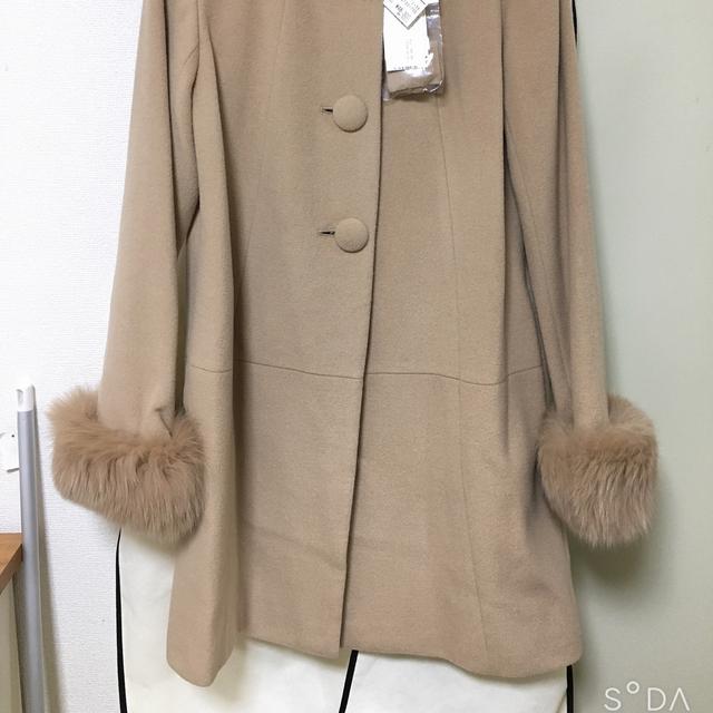 Debut de Fiore(デビュードフィオレ)の値下げ デビュードフィオーレノーカラーコート レディースのジャケット/アウター(毛皮/ファーコート)の商品写真