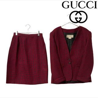 グッチ(Gucci)の80's オールドグッチ GUCCI スーツ スカート セットアップ 千鳥柄(スーツ)