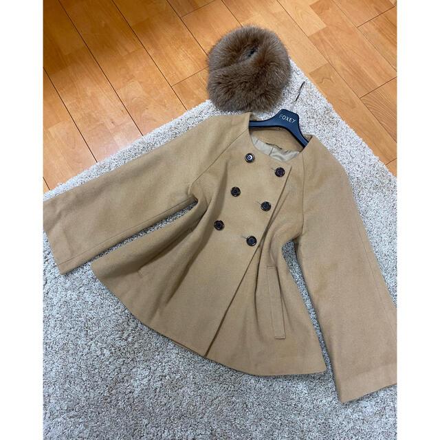 ANAYI(アナイ)の美品!アナイ コート ジャケット ファー取り外し可 レディースのジャケット/アウター(ピーコート)の商品写真