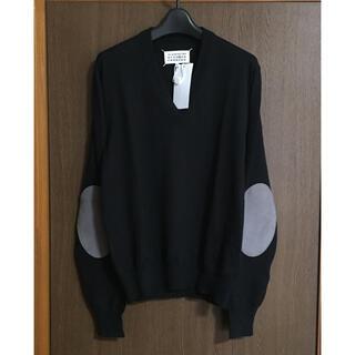 マルタンマルジェラ(Maison Martin Margiela)の黒S新品 メゾン マルジェラ エルボーパッチ V ニット メンズ ブラック(ニット/セーター)