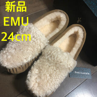 エミュー(EMU)の新品★EMU エミュー モカシン ケアンズ カーリーファー ムートン(スリッポン/モカシン)