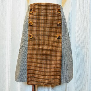 バイバイ(ByeBye)のByeBye チェック×千鳥 台形スカート(ミニスカート)