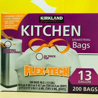 コストコ(コストコ)のカークランドシグネチャー ひも付き ゴミ袋 49L x 200枚 (ごみ箱)