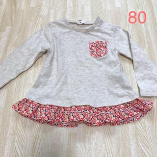アカチャンホンポ(アカチャンホンポ)の長袖Tシャツ 80サイズ 白 赤 トップス アカチャンホンポ(Tシャツ)