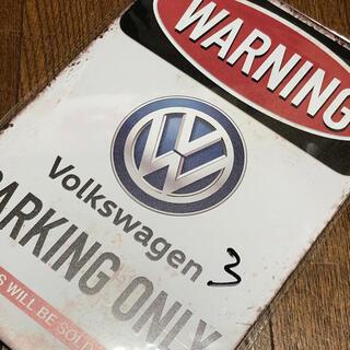 Volkswagen - WARNING フォルクスワーゲン パーキングオンリー ブリキ看板