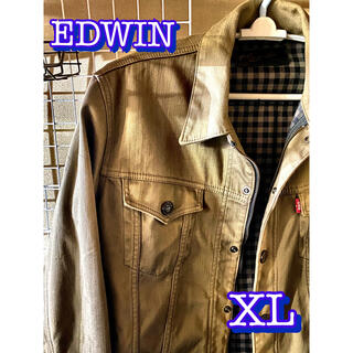 エドウィン(EDWIN)のデニムジャケット Gジャン EDWIN XL アースカラー カーキ 古着(Gジャン/デニムジャケット)