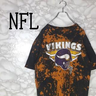 アメリヴィンテージ(Ameri VINTAGE)のNFL VIKINGS デカロゴ チームロゴ ブリーチ加工 一点物 半袖 奇抜(Tシャツ/カットソー(半袖/袖なし))