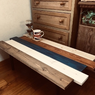 木目調折りたたみ可能 ウォルナットセンターテーブル 新品未使用(ローテーブル)