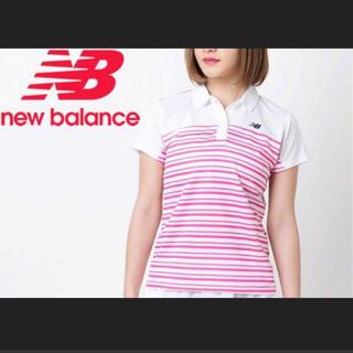 ニューバランス(New Balance)のnew balance ポロシャツ ボーダー 白 ピンク(ポロシャツ)