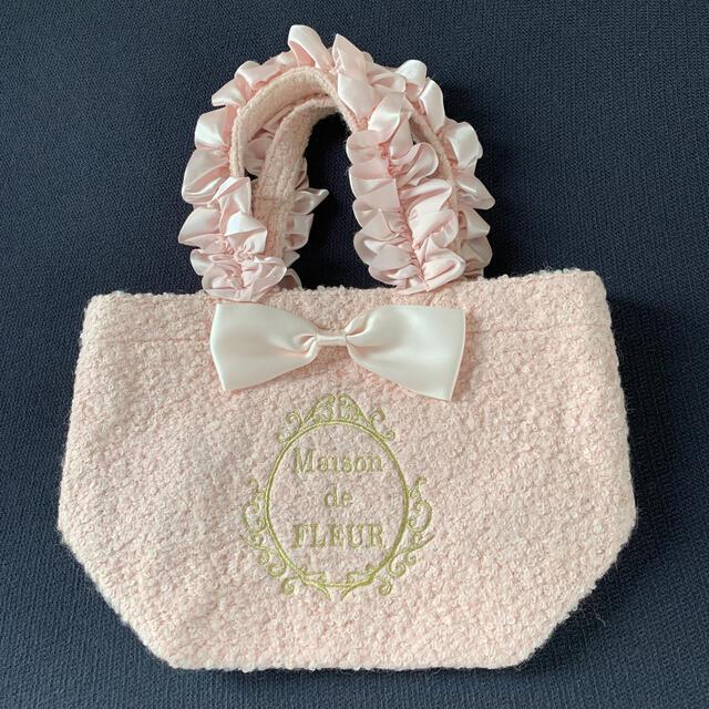 Maison de FLEUR(メゾンドフルール)の希少メゾンドフルール  ピンクツィードバッグ美品 レディースのバッグ(トートバッグ)の商品写真