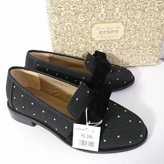 ランダ(RANDA)の新品♥️黒リボンベルトスタッズローファー▲M ランダ 🎀(ローファー/革靴)