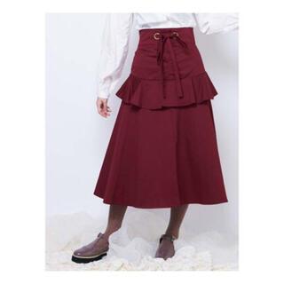 メリージェニー(merry jenny)のmerry jenny ♡ ウエストリボン ロングスカート レッド(ロングスカート)
