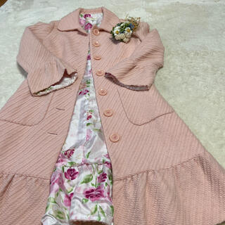ピンクハウス(PINK HOUSE)のみなこ様お取り置き専用です😊ジーザスディアマンテ💖毛100%裏地薔薇コート(ロングコート)