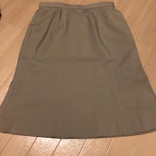 エンジョイ(enjoi)の17号 ベージュ タイトスカート 事務服 スーツ 制服(ひざ丈スカート)
