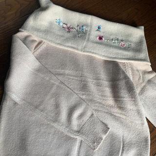 チルアナップ(CHILLE anap)のChillANAP オフショル ベージュ 刺繍(ニット/セーター)