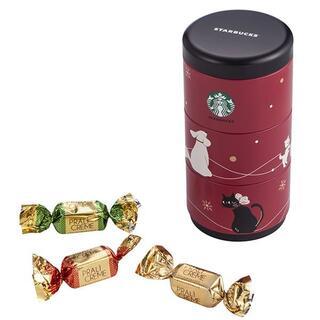 スターバックスコーヒー(Starbucks Coffee)のスターバックス:チョコレート 缶 犬 黒猫 台湾 スタバ クリスマス限定(菓子/デザート)