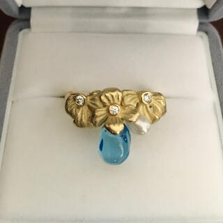 Jeunet ジュネ ダイヤモンド×ブルートパーズ リング K18YG 8.5g(リング(指輪))