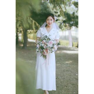 残り2点 結婚式 前撮り 二次会 フォト ウエディングドレス ビジュー  L(ウェディングドレス)