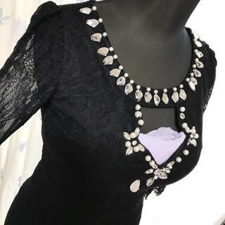 デイジーストア(dazzy store)のバスト 強調 ビジュー タイト 7分丈 ブラック レース ドレス ワンピース(ナイトドレス)