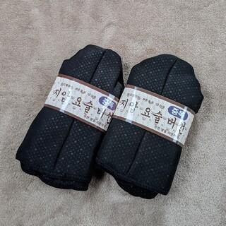 【新品】ポソン 韓国 あったか靴下 ルームソックス ミドル丈 黒 2足セット(スリッパ/ルームシューズ)