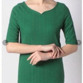 アーバンリサーチ(URBAN RESEARCH)のアーバンリサーチ☆ハートネックTシャツ グリーン 緑(Tシャツ(長袖/七分))