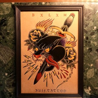ラディアル(RADIALL)の「ブラックパンサー」A4サイズ 刺青 タトゥーフラッシュ(ミラー)