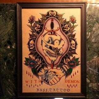 クライミー(CRIMIE)の「ベントオーバーガール」A4サイズ 刺青 タトゥーフラッシュ(ミラー)