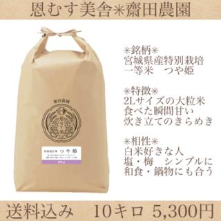 コロナ応援キャンペーン!!光り輝く大粒米✼宮城県特別栽培つや姫10キロ(米/穀物)