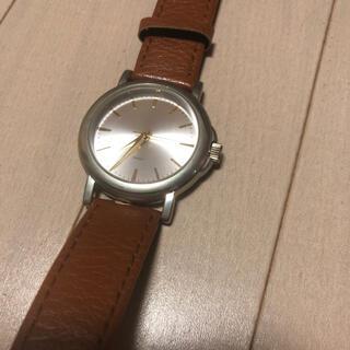 ザラ(ZARA)のブラウンレザーライダースベルト シルバー×ゴールド腕時計(腕時計)