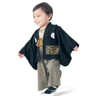 ベルメゾン(ベルメゾン)のベルメゾン 紋付き袴風カバーオール ブラック 80㎝(和服/着物)