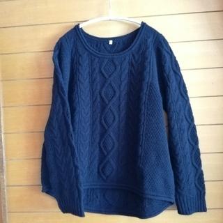 ムジルシリョウヒン(MUJI (無印良品))の無印良品 セーター ケーブル編み ネイビー(ニット/セーター)