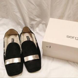セルジオロッシ(Sergio Rossi)の美品☆ sergio rossi sr1 スリッパ ローファー ブラック 36(ローファー/革靴)
