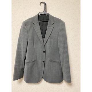 ジーユー(GU)のGU グレー ストライプ スーツ セットアップ Lサイズ 秋冬  送料800円込(セットアップ)