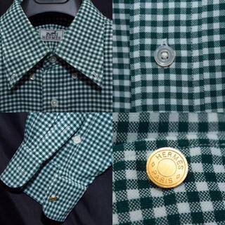 エルメス(Hermes)の最終値下げ 正規品 HERMES オーバーサイズシャツ ボタンダウン チェック(シャツ)