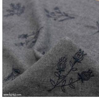 コットンビエラ 刺繍生地 110×30  グレー flowers(生地/糸)