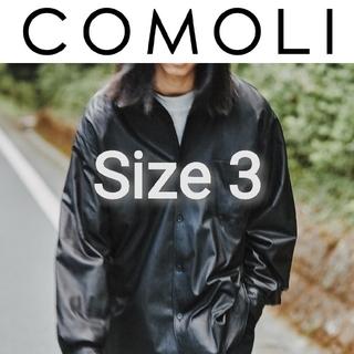 コモリ(COMOLI)の新品■20AW COMOLI レザーシャツ 3 黒 ディアスキン ブラック(シャツ)