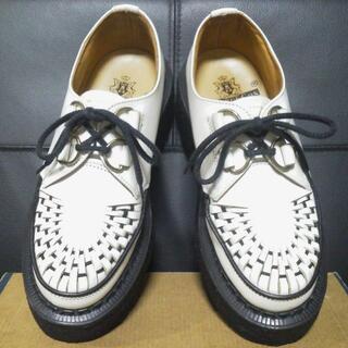 ジョージコックス(GEORGE COX)のGeorgeCox 英国製 ラバーソール UK4 白 厚底 3588 清春(ローファー/革靴)