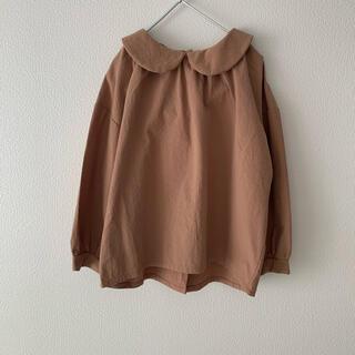 petit main - 新品未使用// 韓国子供服 丸襟ブラウス ブラウン 120cm