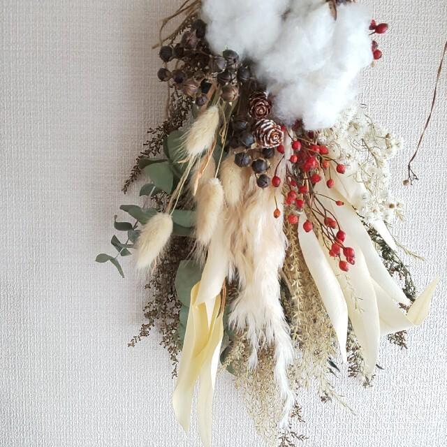 *専用*X'mas  コットン&野バラ  ドライフラワースワッグ ハンドメイドのフラワー/ガーデン(ドライフラワー)の商品写真