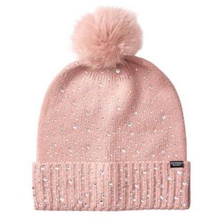 ヴィクトリアズシークレット(Victoria's Secret)のファー ニット帽 ビーニー(ニット帽/ビーニー)