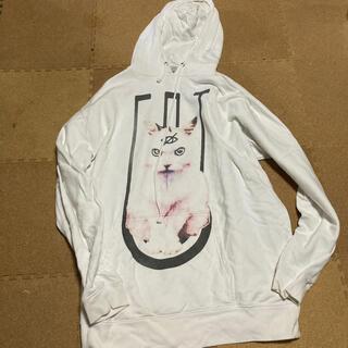 ミルクボーイ(MILKBOY)のKRY 猫 ネコ CAT BIG パーカー ホワイト  KRYclothing(パーカー)