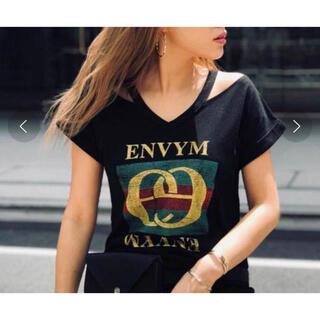アンビー(ENVYM)のENVYM♡ヴィンテージプリントTシャツ ブラック(Tシャツ/カットソー(半袖/袖なし))