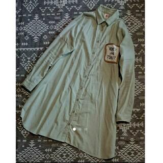 メルロー(merlot)のmerlot パンポケットが可愛い肩落ちビッグシャツワンピース ミント(ひざ丈ワンピース)