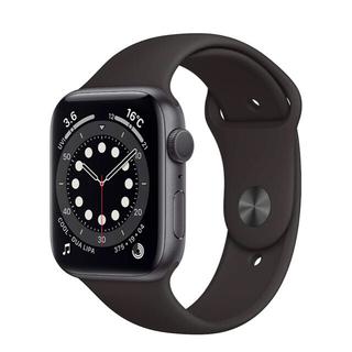 アップルウォッチ(Apple Watch)の最新 アップルウォッチ6 GPSモデル44mmスペースグレイアルミニウム黒(腕時計(デジタル))