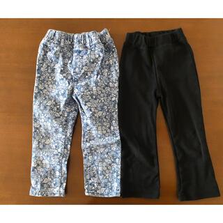 長ズボン 95 女の花柄 黒 ブラック セット(パンツ/スパッツ)