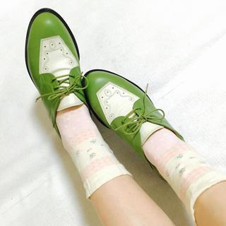 ヴィンテージ シューズ レザー 緑 レア(ローファー/革靴)