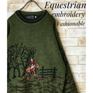 アートヴィンテージ(ART VINTAGE)の古着 乗馬 刺繍 モスグリーン ニットセーターL(ニット/セーター)