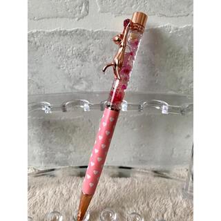 ❁.*⋆No.38❁.* ハーバリウム ペン 薄いピンク ハート 猫 クリップ(その他)