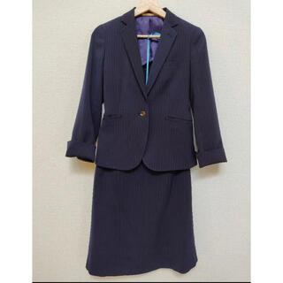 オリヒカ(ORIHICA)のスカートスーツ上下オリヒカ美品ウォッシャブルネイビーストライプ(スーツ)