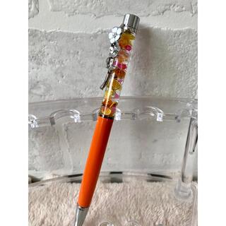 ❁.*⋆No.65❁.*⋆ ハーバリウムボールペン オレンジ シルバー 花(その他)